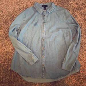 *Forever 21* jean long sleeve button up! ❤️❤️